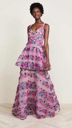 Marchesa Fringe Floral Tiered Gown