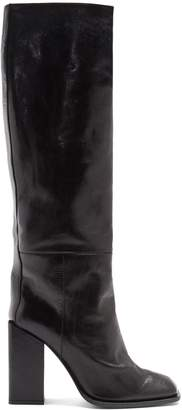 Jodie square-toe leather over-the-knee boots