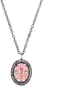 Latelita London - Diamond Oval Pink Tourmaline Necklace