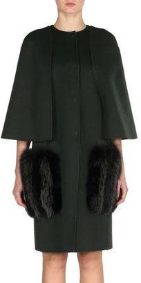 Fendi Wool Cape Coat with Fox Fur Pockets $3,850 thestylecure.com