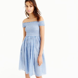 Smocked off-the-shoulder gingham beach dress $79.50 thestylecure.com