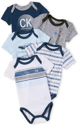 Calvin Klein Newborn Boys) 5-Pack Cars Bodysuits