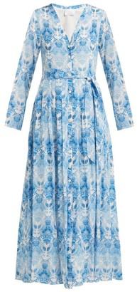 Athena Procopiou - Kalua Print Silk Crepe Dress - Womens - Blue White