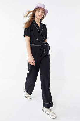 Moon River Belted Double-Breasted Jumpsuit