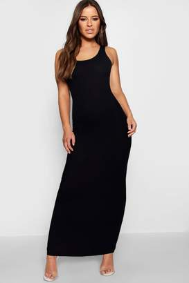 boohoo Petite Rib Scoop Neck Maxi Dress