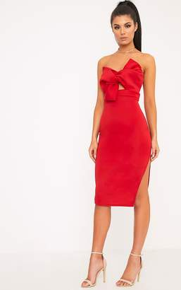 PrettyLittleThing Elisse Red Bow Detail Scuba Midi Dress
