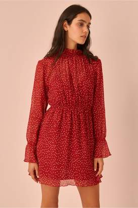 The Fifth ASSEMBLAGE LONG SLEEVE DRESS red w white