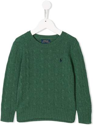 Ralph Lauren Kids logo cable-knit sweater