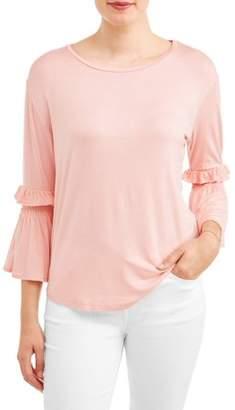 Alexander Jordan Women's Long Sleeve Statement Ruffle T-Shirt