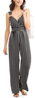 Wrapper Women's Striped Cross Front Jumpsuit