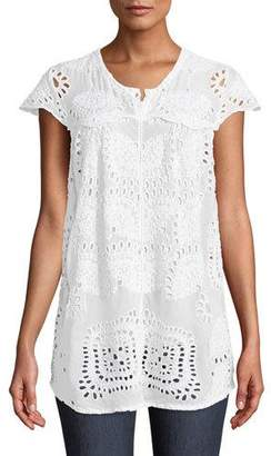 Johnny Was Marietta Cap-Sleeve Eyelet Blouse