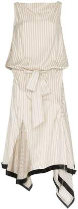 J.W.Anderson neutral silk lambskin trim asymmetrical dress