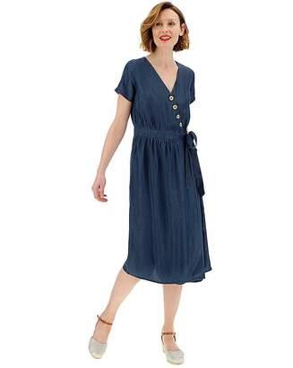3abdaf3e2c9c4 Capsule Soft Tencel Denim Button Wrap Midi Dress