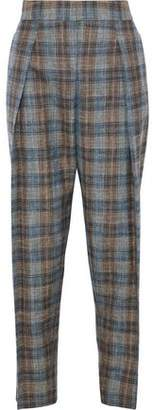 Giorgio Armani Checked Wool, Silk And Linen-blend Tapered Pants