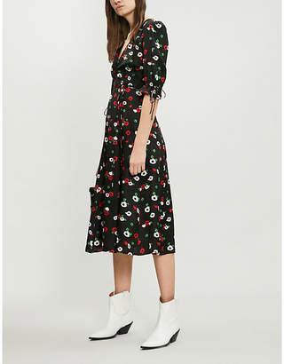 The Kooples Floral-print wrap-over devoré dress