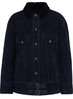 Yves Salomon Shearling-Trimmed Suede Jacket