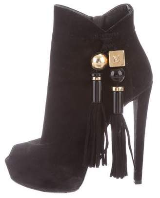 Louis Vuitton Suede Peep-Toe Boots