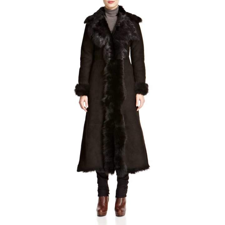 Black Full Length Waterfall Shearling Coat
