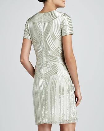 Naeem Khan Art Deco Beaded Cocktail Dress, Aqua
