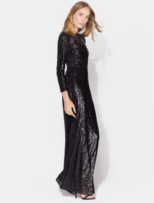Halston Long Sleeve Sequin Gown