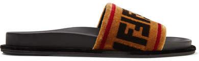 Fendi - Printed Velvet Slides - Tan