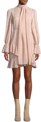 See by Chloe Tonal-Check Tie-Neck Flounce Short Dress