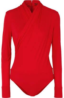 Versace Wrap-effect Crepe Bodysuit