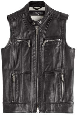 DSQUARED2 Leather and Jersey Vest