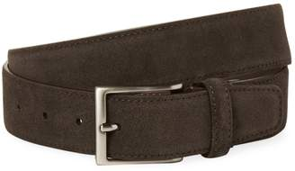 a. testoni Men's Solid Suede Calfskin Leather Belt