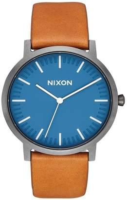 Nixon Porter Leather Strap Watch, 40mm