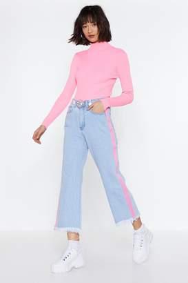 Nasty Gal Side Stripe Cropped Jeans