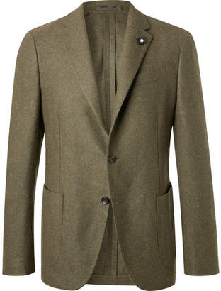 Lardini Green Slim-Fit Unstructured Wool Blazer