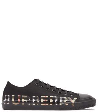 Burberry Larkhall Vintage Check Logo Print Canvas Trainers - Mens - Black