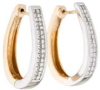 14K Diamond Hoop Earrings yellow 14K Diamond Hoop Earrings