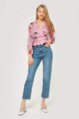 Topshop Satin Wrapped Blouse