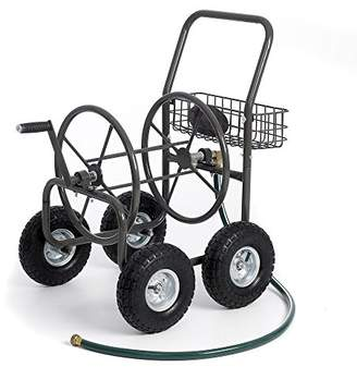 "Equipment Most Popular Selling Portable Rolling Heavy Duty Steel Hose Reel Cart With Storage Basket Handle- Rust Resistant Polystyrene Finish- Lightweight Frame Pneumatic Tires- 250'of 5/8"" Hose Capacity"