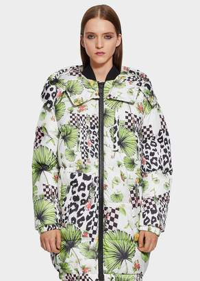 Versace Tropical Collage Puffer Coat