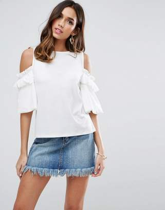 Asos Top in Crepe with Cold Shoulder Pretty Ruffle Puff Sleeve