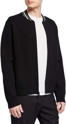 Vince Men's Zip-Front Varsity Jacket with Contrast Collar