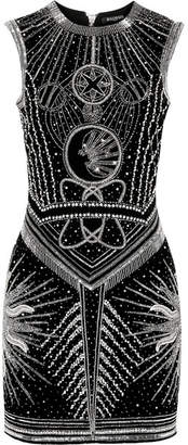 Balmain Crystal-embellished Embroidered Velvet Mini Dress - Black
