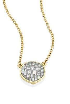 Ice Diamond Pleve Ice Diamond& 18K Yellow Gold Small Pebble Pendant Necklace