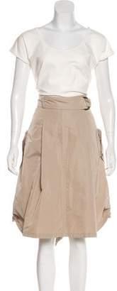 Akris Punto Belt-Accented Sleeveless Midi Dress