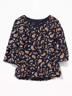 Old Navy Floral-Print Ruffle-Trim Swing Top for Girls
