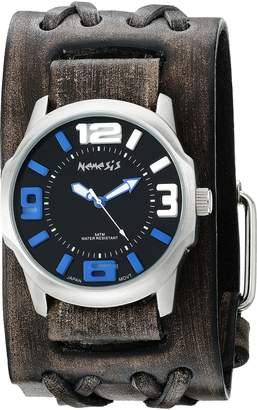 Nemesis Men's 107VDXB-KL Black/Blue Embossed 3D Series Faded Black Double X Leather Cuff Band Analog Display Japanese Quartz Black Watch