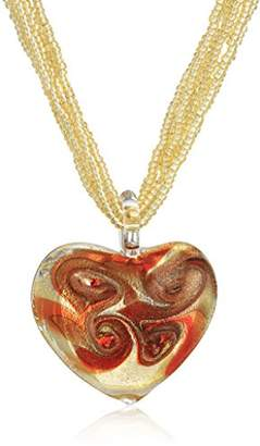 Murano Red Heart on Bead Necklace with 14k Clasp Strand Necklace