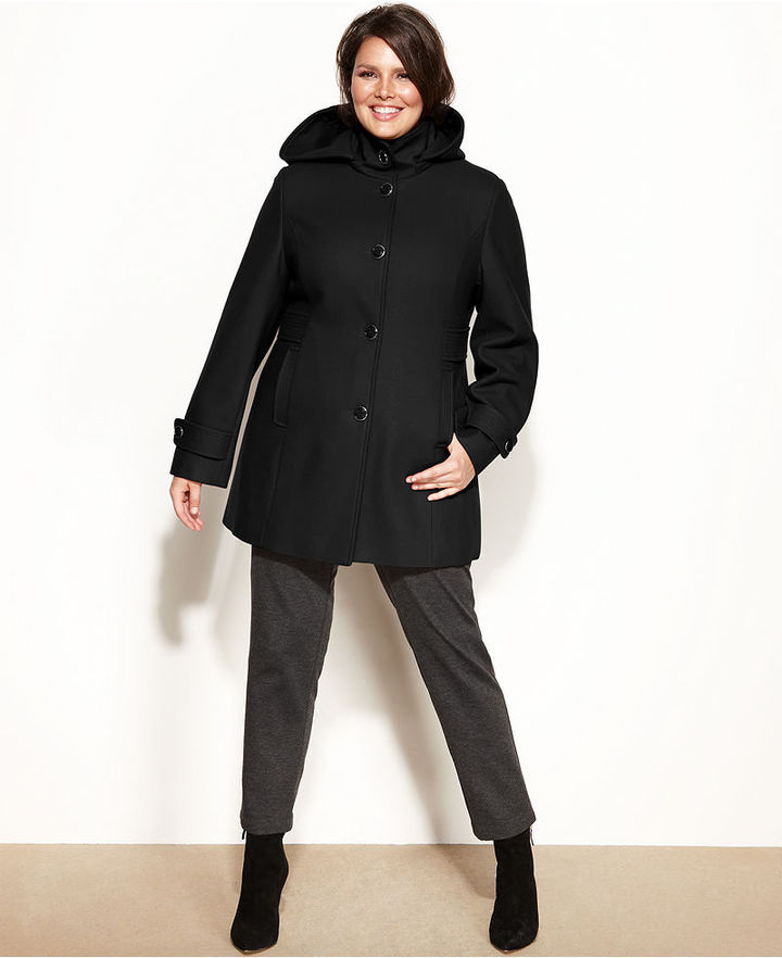 Kenneth Cole Reaction Plus Size Hooded Wool-Blend Car Coat