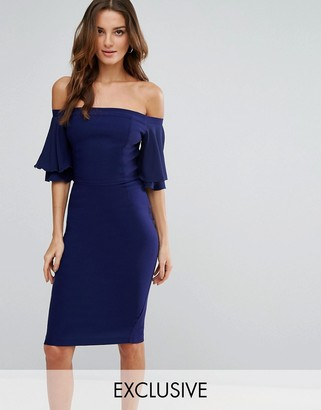 Vesper Off Shoulder Pencil Dress With Frill Sleeve $85 thestylecure.com
