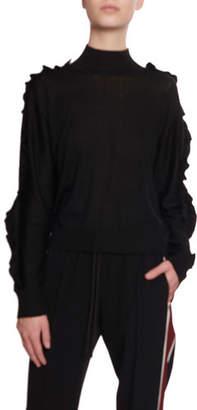 Kenzo Wool-Silk Ruffle Turtleneck Sweater