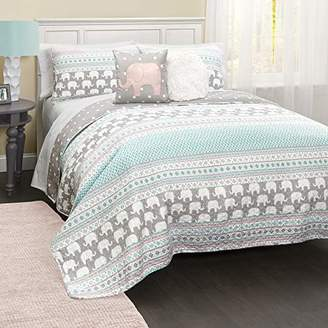 Lush Decor C43202P15-000 4 Piece Elephant Stripe Quilt Set