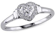HBC CONCERTO 0.5CT Diamond 14K White Gold Halo Heart Engagement Ring